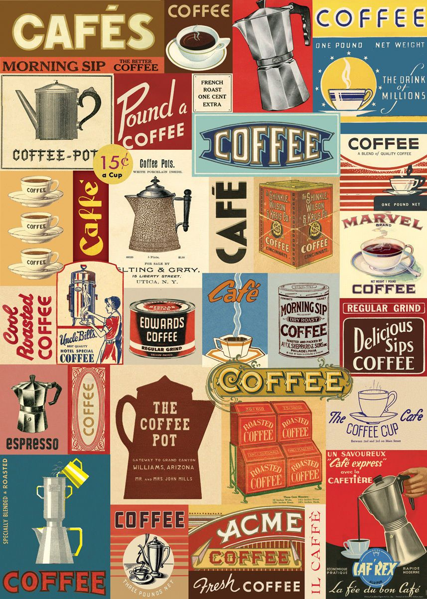 Cavallini Co Vintage Coffee Collage Decorative Paper Sheet Kitchen Decor Themes Coffee Coffee Theme Kitchen Vintage Coffee