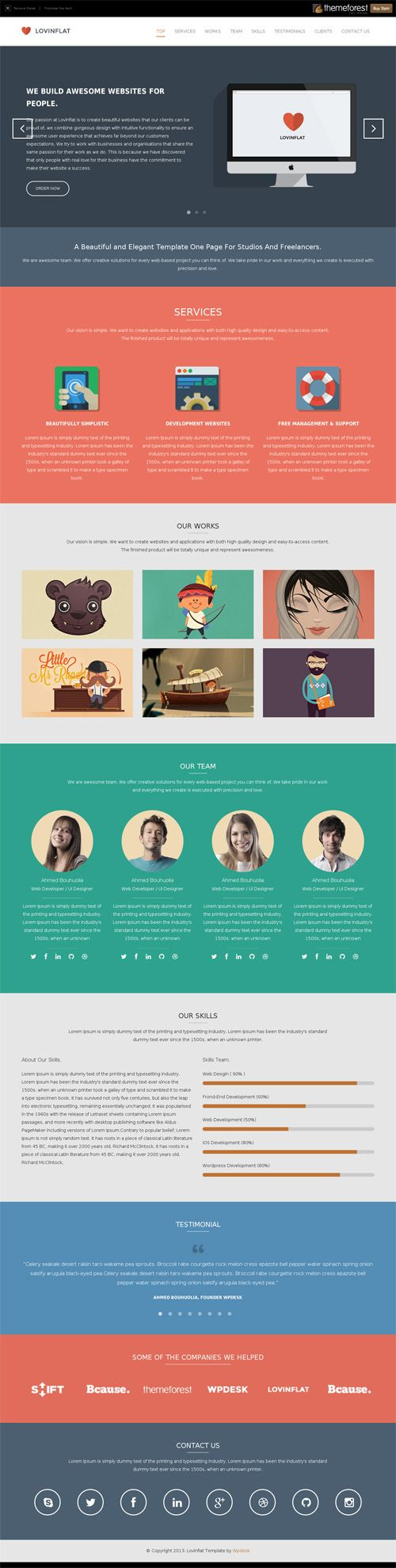 Lovinflat - One Page Bootstrap 3 Template | Webdesign | Pinterest