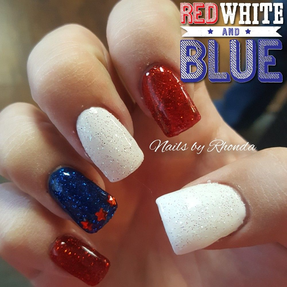 Red And White Glitter Acrylic Nails