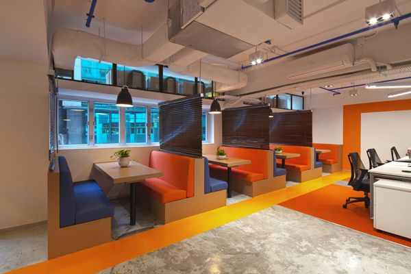 The Office Cafe Fun Office Space With Bench Seating Cool Office Space Cool Office Office Renovation