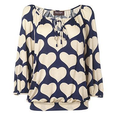 Navy and Ivory Heart Jersey Top