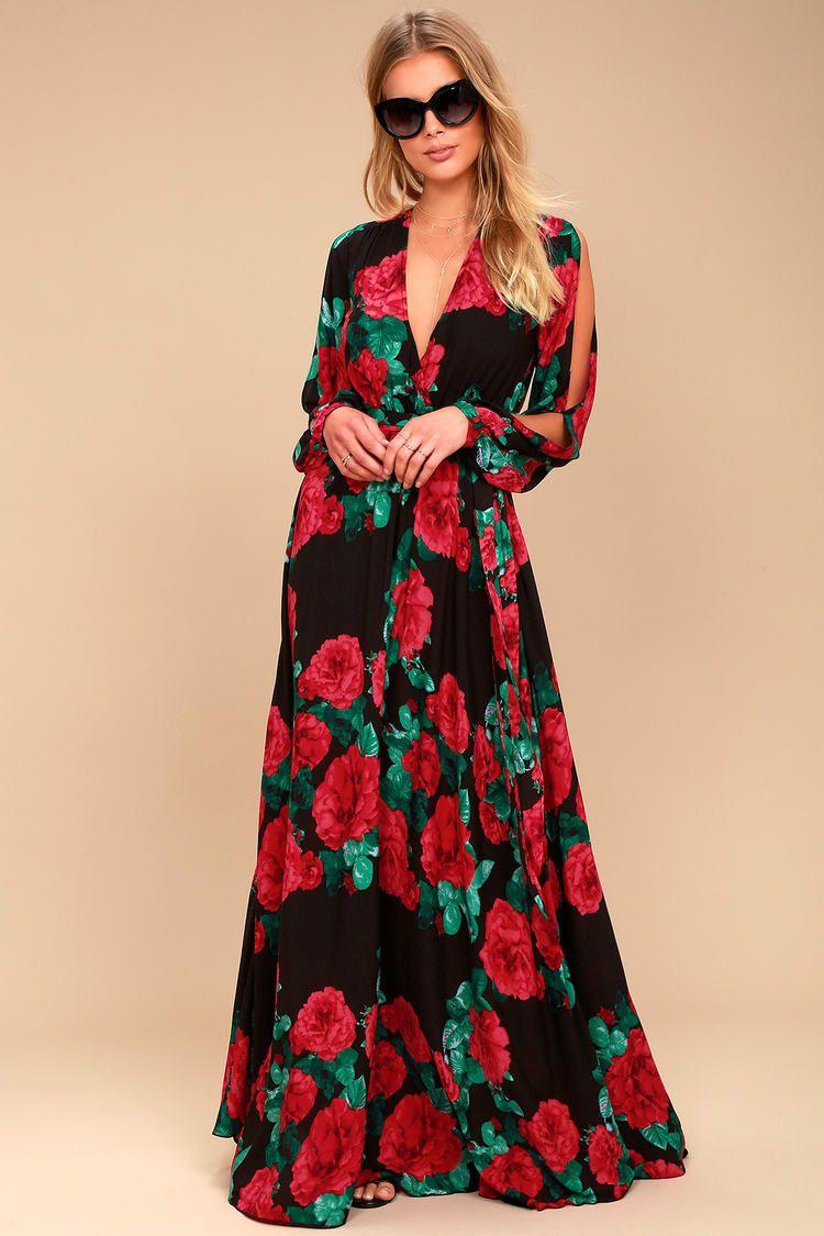 42d533b5e35 Lulus | Strike a Rose Black Floral Print Long Sleeve Maxi Dress ...