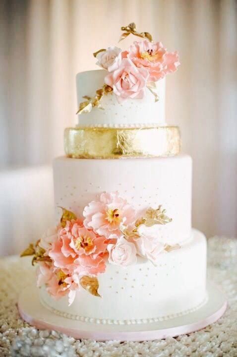 White cake with gold base and pink flowers wedding cake white cake with gold base and pink flowers wedding cake mightylinksfo