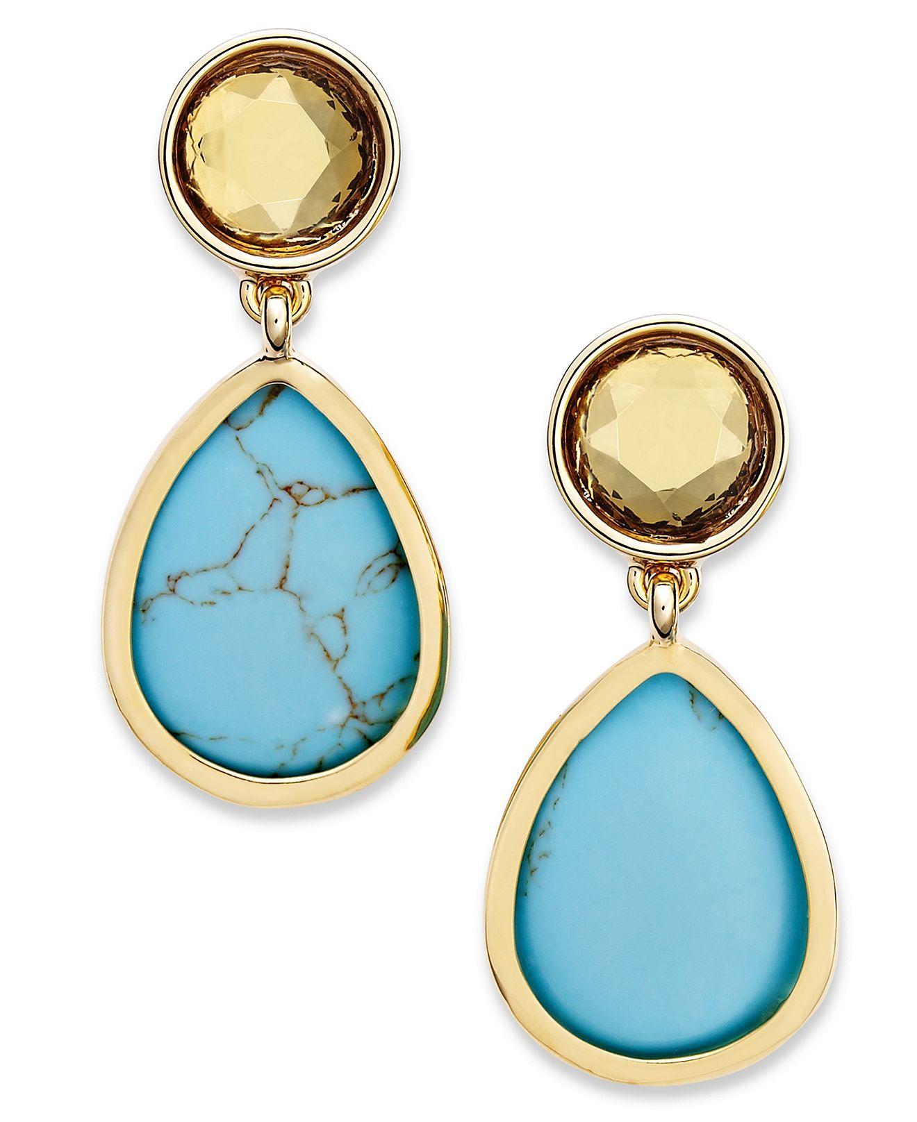 Lauren Ralph Earrings 14k Gold Plated Teardrop Double Drop Clip On Fashion Jewelry Watches Macy S Large Lobe 36