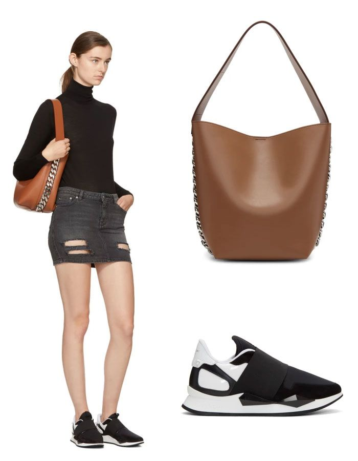 Givenchy mini skirt denim and shoulder bag #givenchy