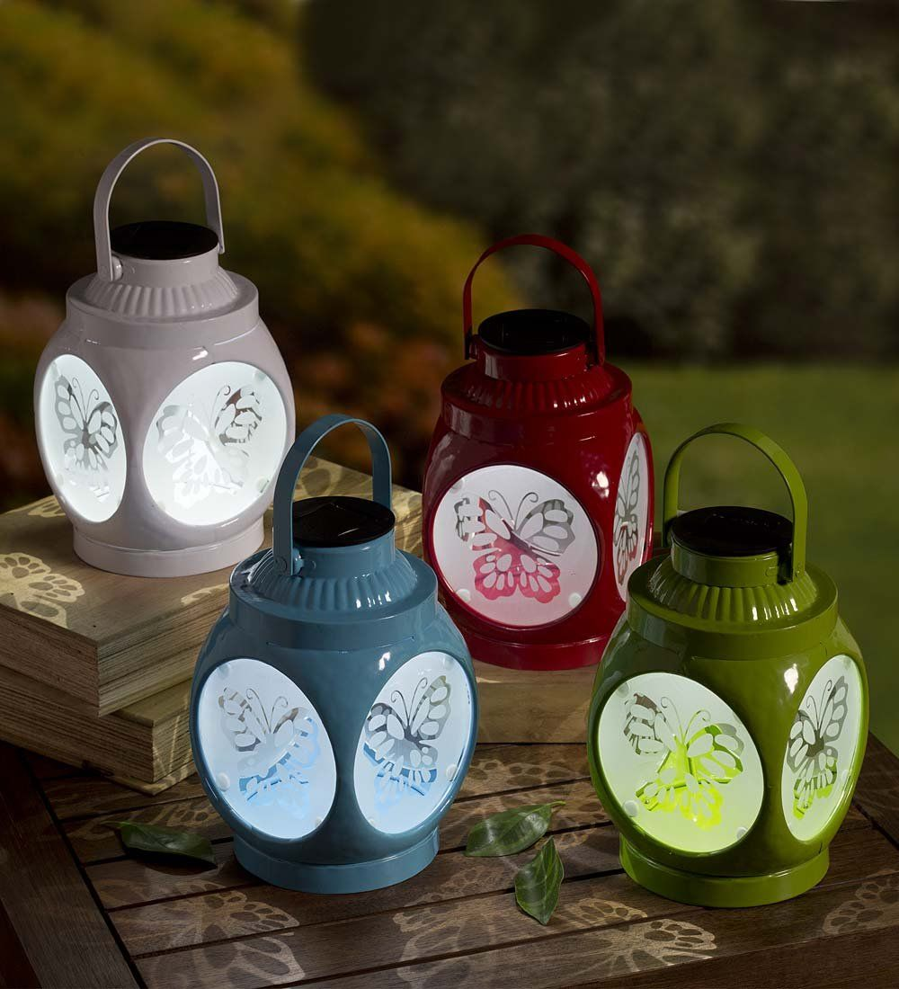 Outdoor Solar Led Metal Butterfly Lantern For Hanging Or Tabletop Use 5 L X 5 W X 8 H White Click On Th Patio Entertaining Solar Lights Hanging Solar Lights