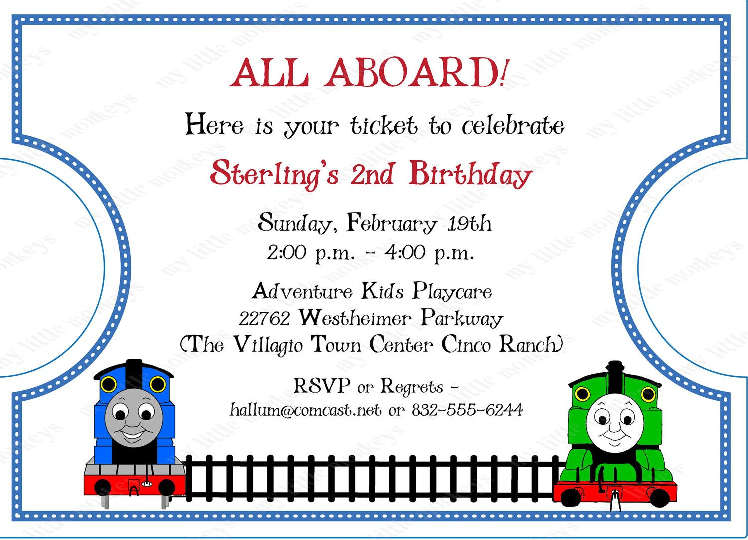 10 Die Cut Thomas Train Ticket Invitations with Envelopes Free