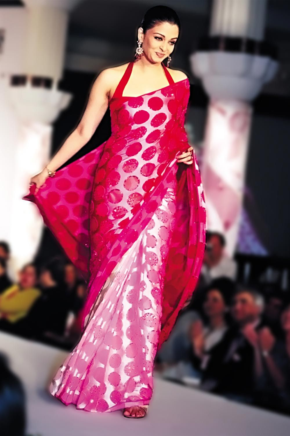 Ash in pink polka dot sari from Satya Paul. Hot! | IndianDesigner ...