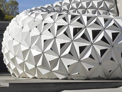 Compostable geometric pavilion is made out of bioplastics (Video) is part of architecture - Innovative research into bioplastics specially designed for the building industry has culminated into this compostable, malleable and versatile material, perfect for complex geometries
