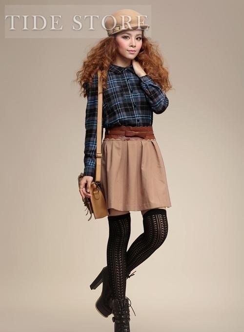 Stylish Japanese Style Turndown Collar Plaid Retro Preppy Style Dress
