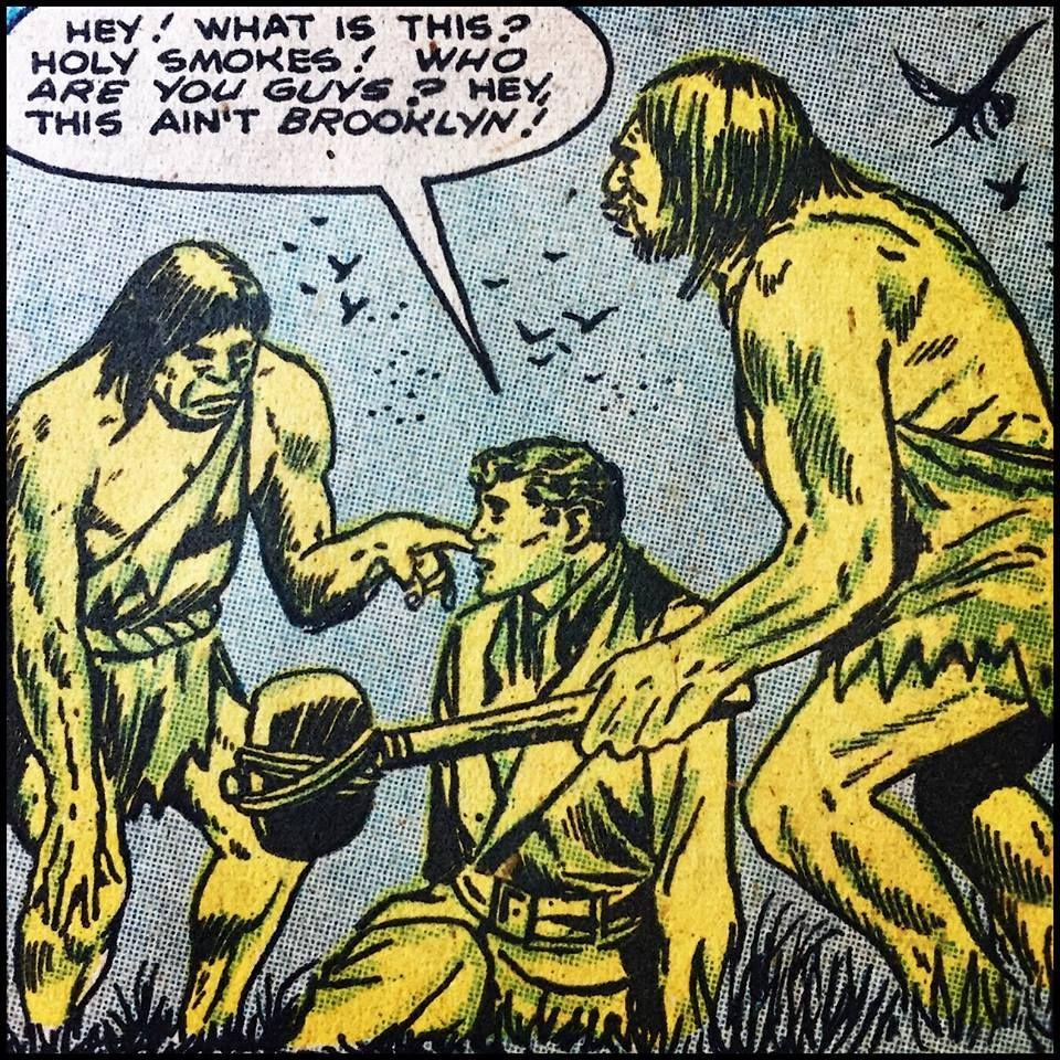Pop Art Retro Comic Illustration Brooklyn Cavemen
