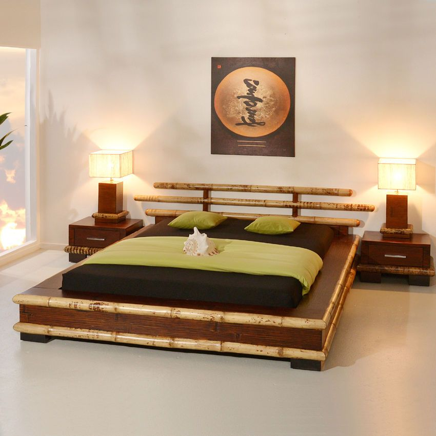bambusbett 140x200 papua bambus futonbett japanisch holzbett ... - Doppelbett Luxus
