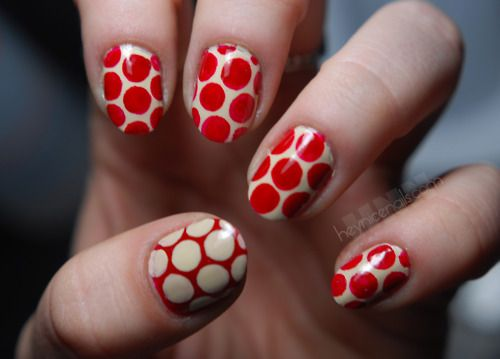 "polka dot manicure using american apparel polish in the shade ""california"" and essie polish in the shade ""aperitif"""