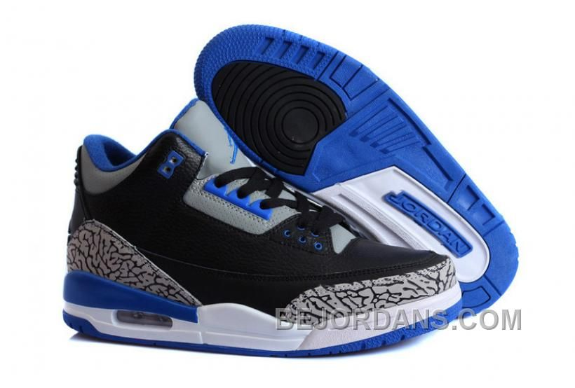 """Buy New Air Jordan 3 Retro """"Sport Blue"""" Black/Sport Blue-Wolf Grey  Authentic from Reliable New Air Jordan 3 Retro """"Sport Blue"""" Black/Sport Blue -Wolf Grey ..."""