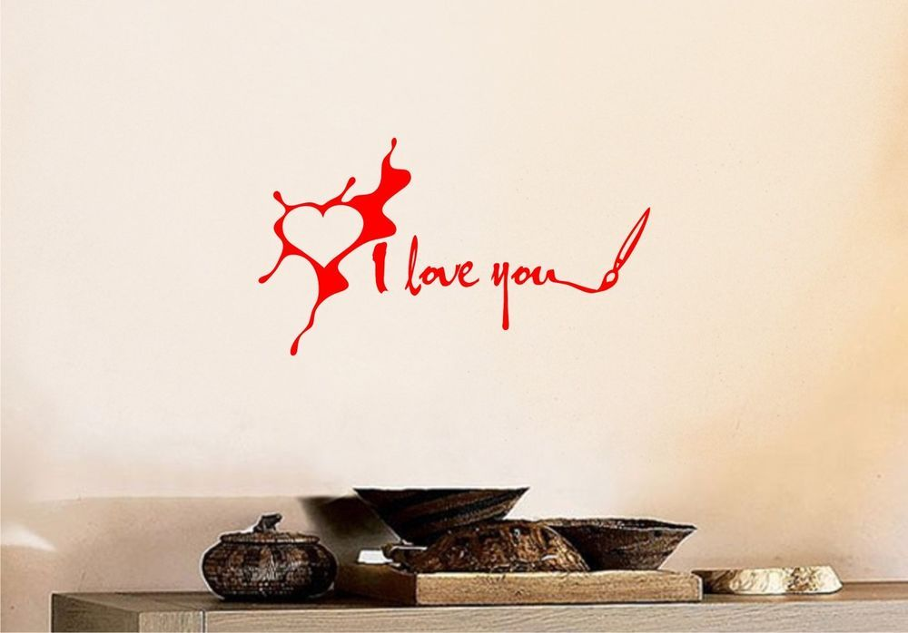 I Love You Paint Splash Heart Wall Art Vinyl Decal Sticker Quote