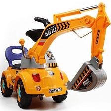 Poco Divo Digger Scooter Ride On Excavator Pulling Cart Pretend Play Construction Truck Color May Vary Tractors For Kids Ride On Toys Toy Trucks