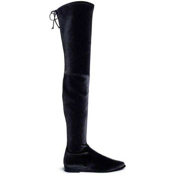b92a9d30356 Stuart Weitzman  Leggy Lady  velvet thigh high boots (29