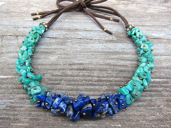 Vintage jewelry, artificial jewellery, green necklace, green and blue, amazonite and lapis lazuli choker, leather cord handmade necklace