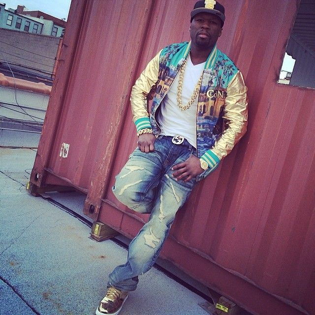 50 Cent wearing Nike Air Force 1 Liquid Gold
