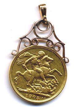 22k full gold sovereign coin pendant wbale c1903 antique jewelry 22k full gold sovereign coin pendant wbale c1903 aloadofball Images
