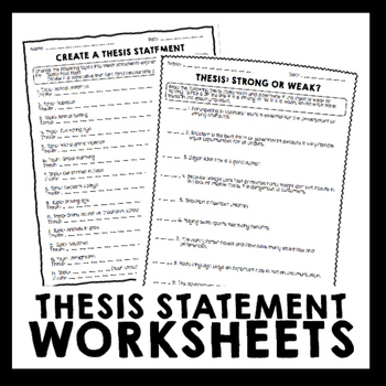 Thesis Statement Practice Worksheets With Images Thesis