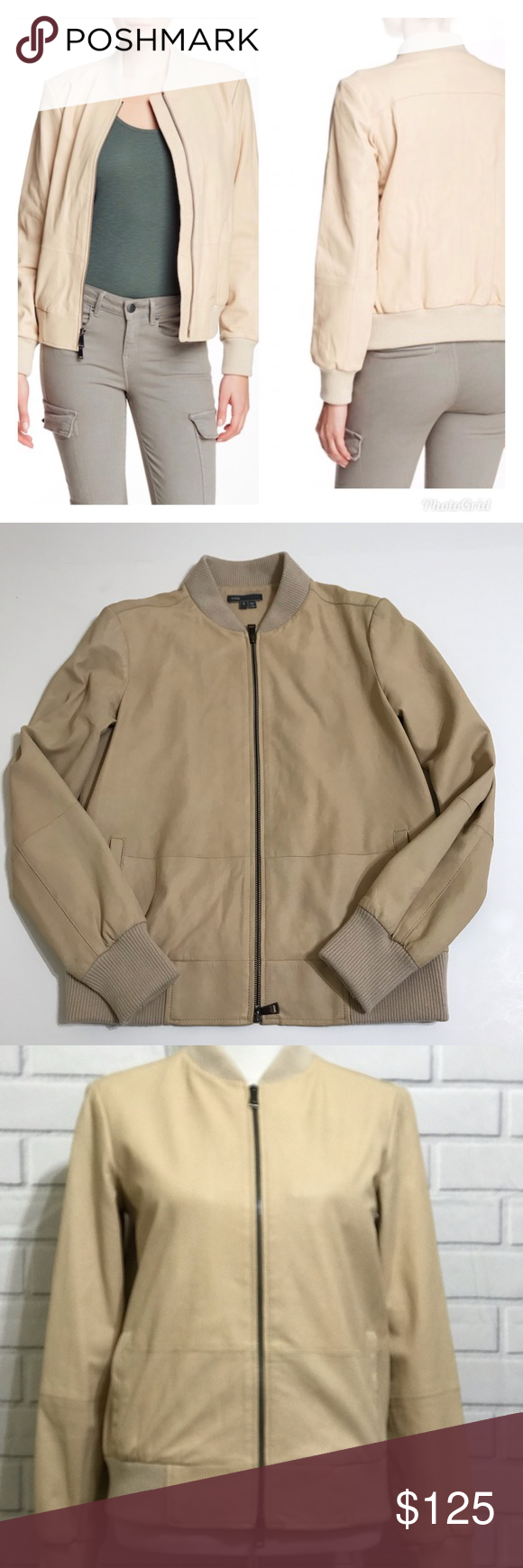 Vince Leather Tan Bomber Jacket Size Small Tan Bomber Jacket Bomber Jacket Leather Bomber Jacket [ 1740 x 580 Pixel ]