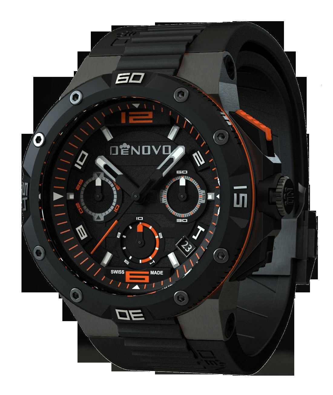 DN202084NON Mens Watch Gunmetal Case Black Dial Orange Accents Black Rubber Strap84nonDeNovo DN202084NON Mens Watch Gunmetal Case Black Dial Orange Accents Black Rubber S...