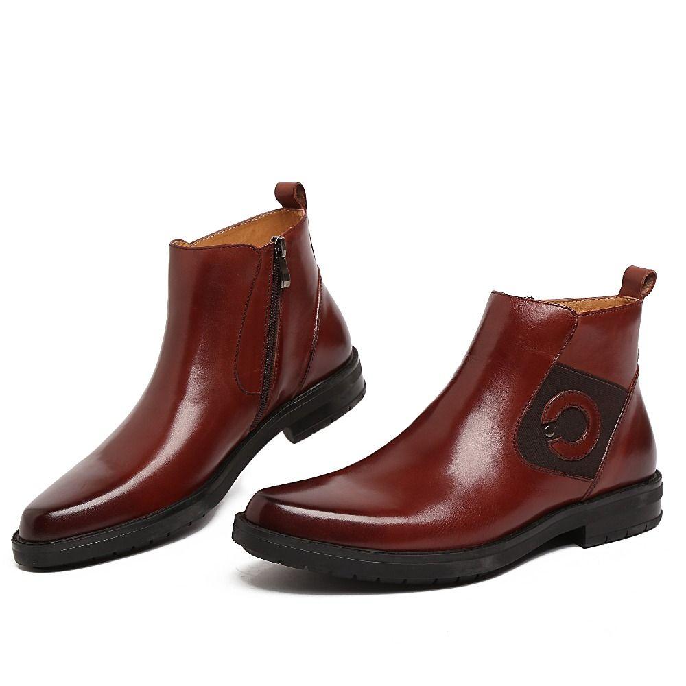 fashion designer zipper brown black motorcycle boots