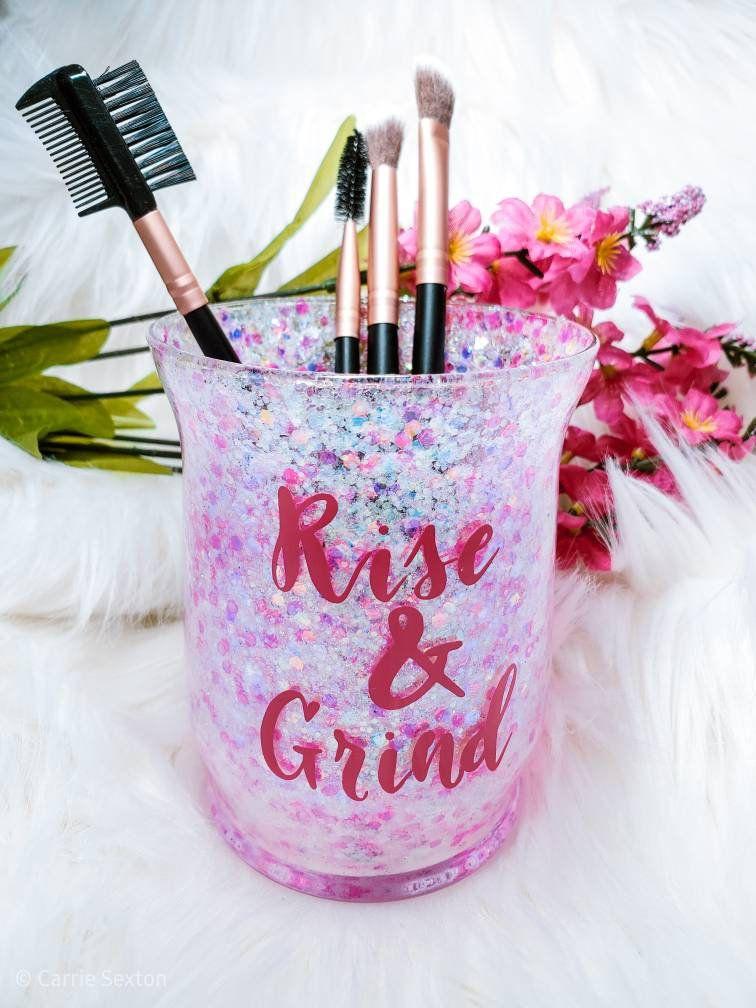 Makeup brush holder, pink glitter, makeup organizer, rise