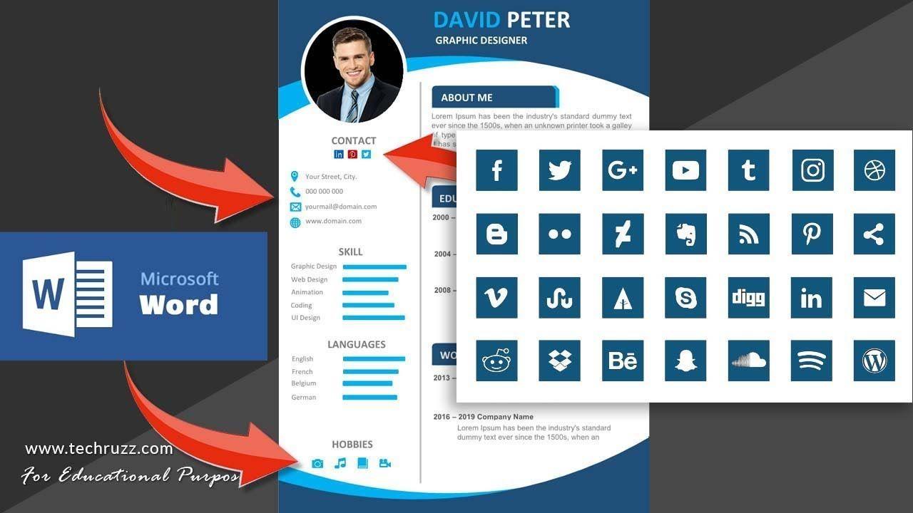 How to insert social media icons symbols for resume cv