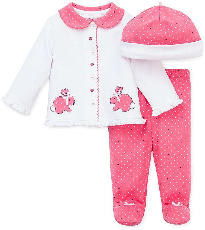 little me baby girls threepiece bunny top footie pants