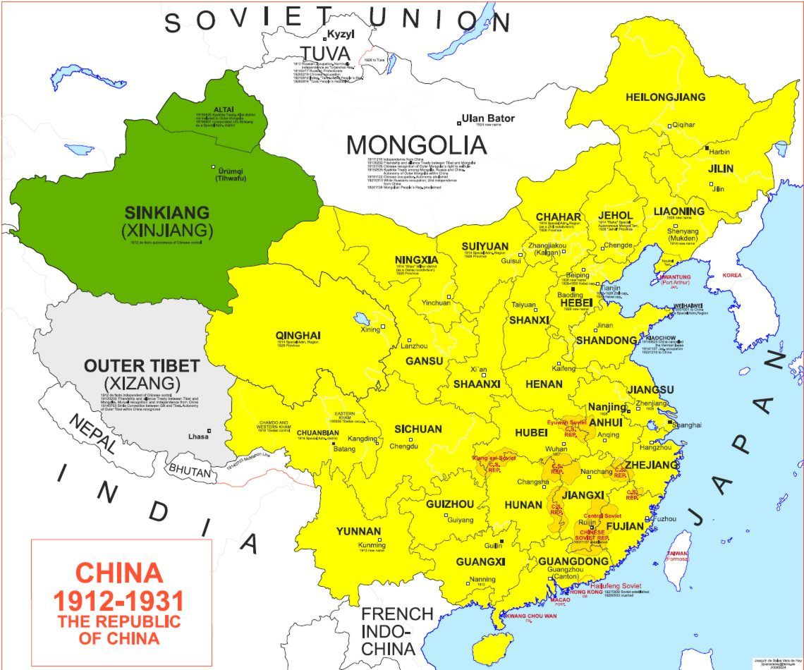 Map Of China 1912 1931 Alternate Flags And Maps China Map