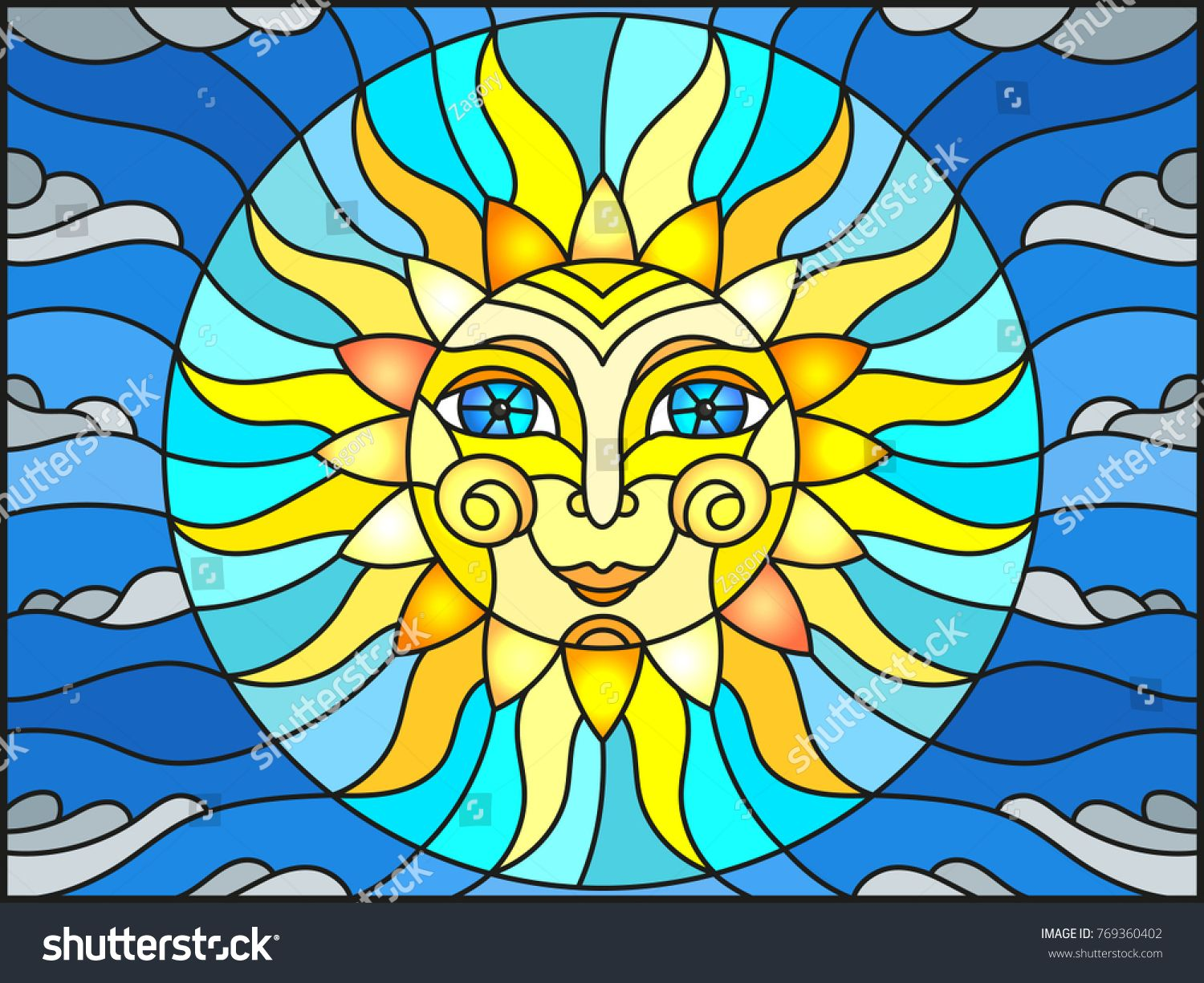 Illustration In Stained Glass Style With Fabulous Sun With The