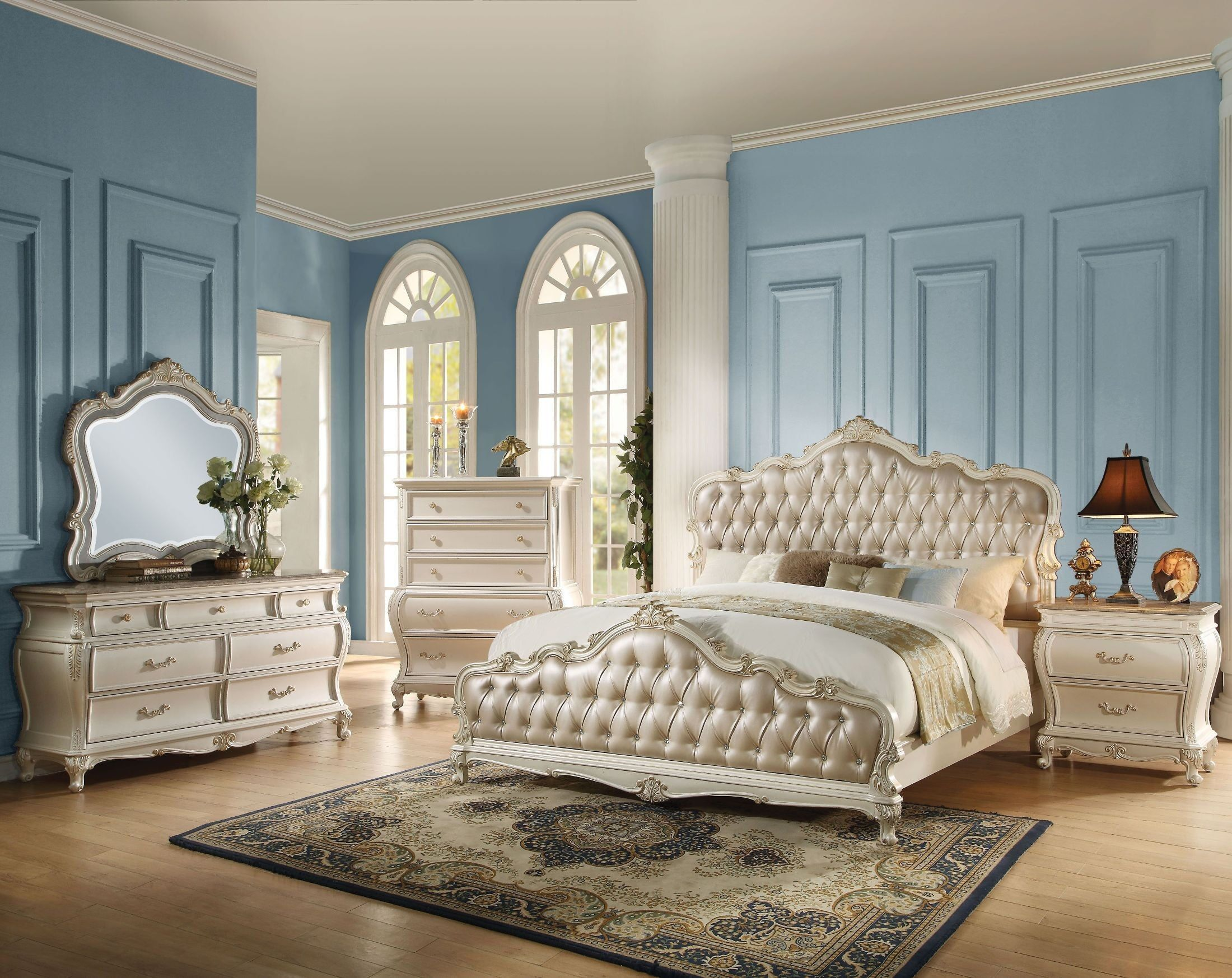 Chantelle Rose Gold Pearl White Panel Bedroom Set From Acme Coleman Furniture Classic Bedroom Furniture Bedroom Furniture Sets Bedroom Sets