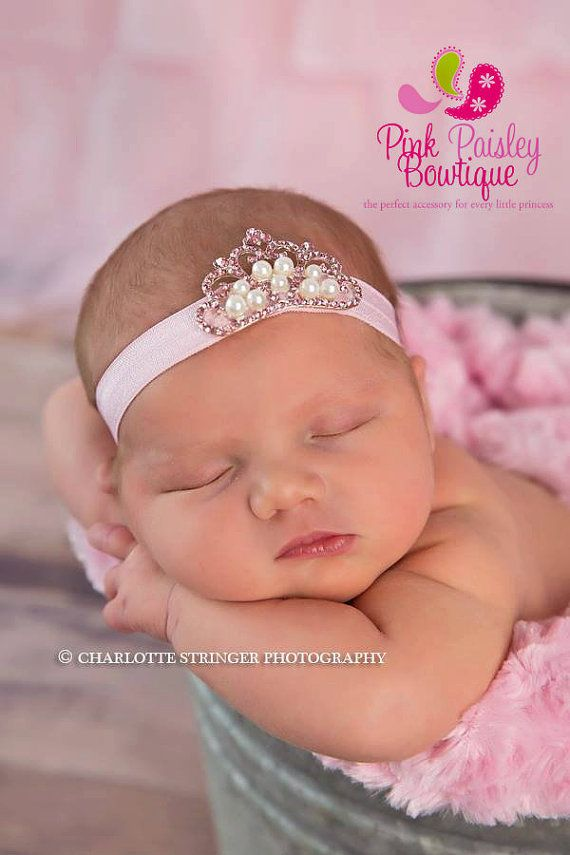 ba4f6056c209 Baby Girl Headband- Baby headbands - Infant Tiara Headband - Baby ...