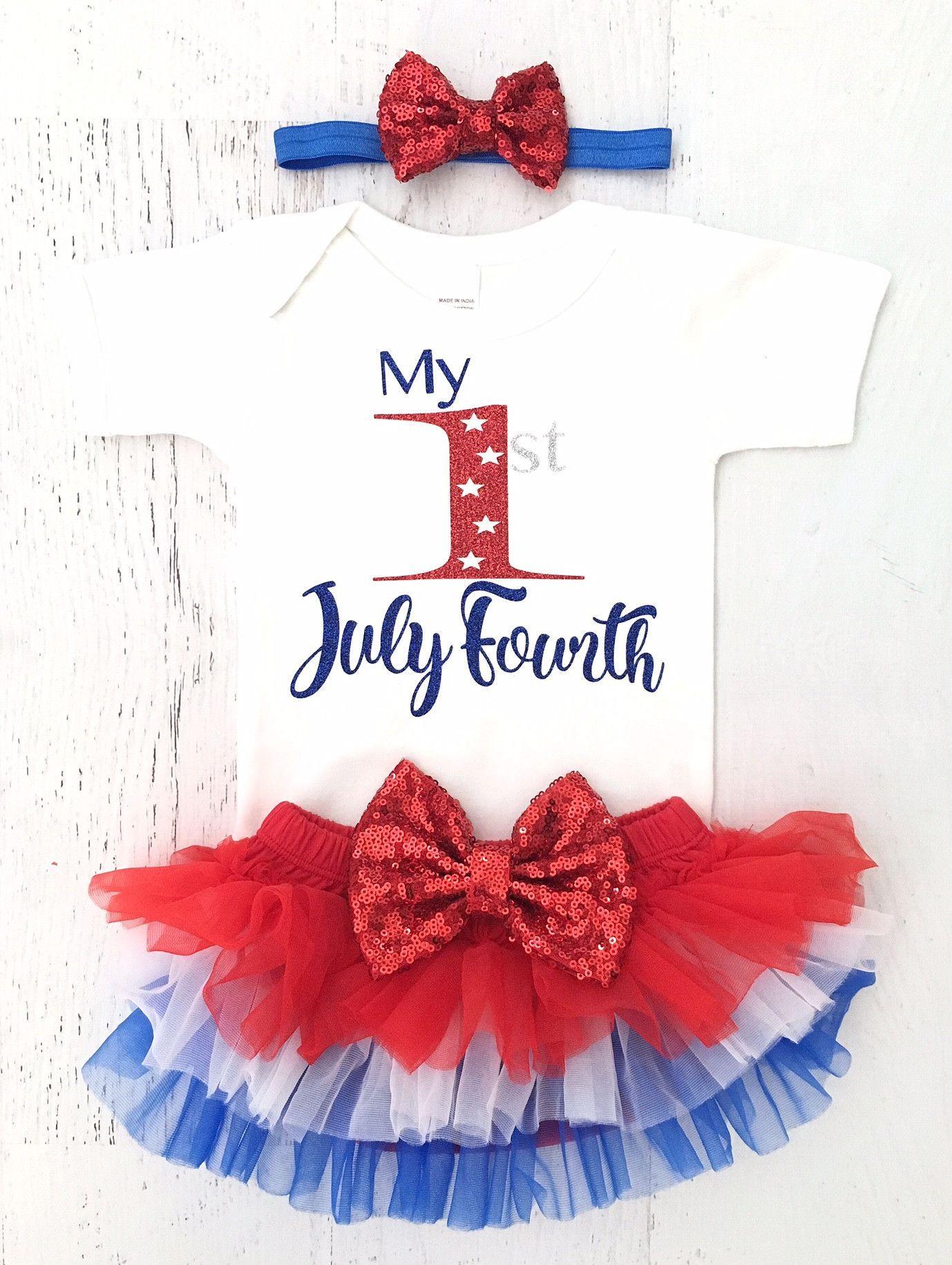 Fourth of July Onesie Headband and Tutu Set Made in America Onesie