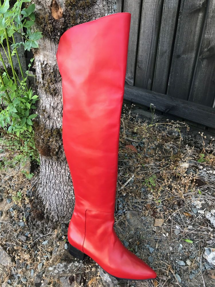 Classy stunning red leather thigh boots