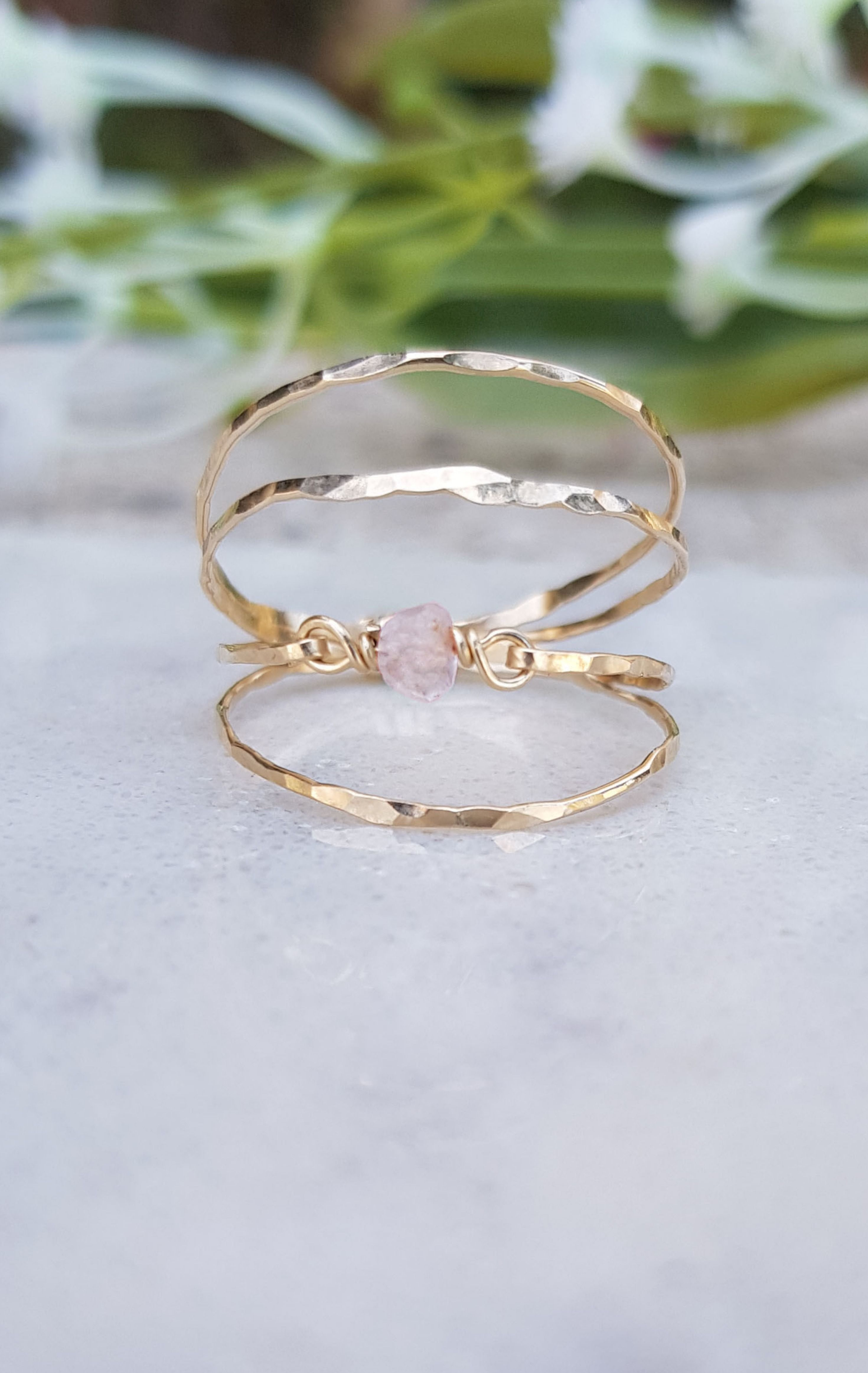 Double Ring Birthstone Ring April Ring Rose Quartz Ring Etsy Blue Gemstone Rings Gold Filled Ring Gold Filled Jewelry