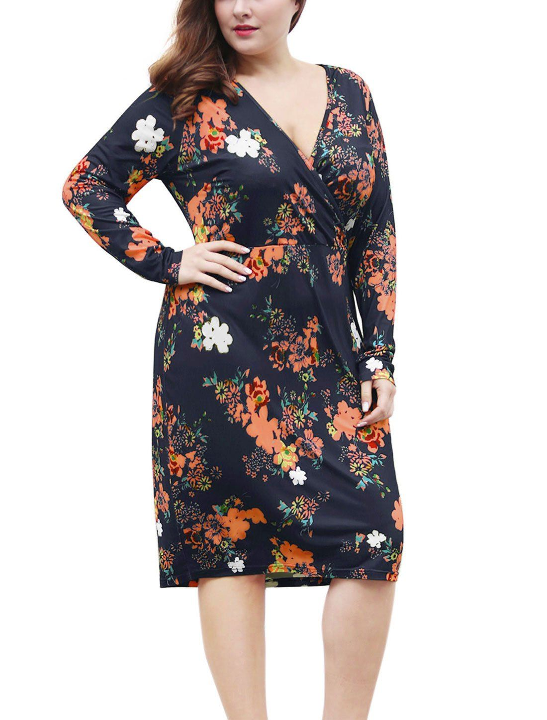 Agnes Orinda Womens Plus Size Floral Print Wrap Front Midi Sheath Dress 2X Blue ** Continue to the product at the image link. (This is an affiliate link) #CasualDresses