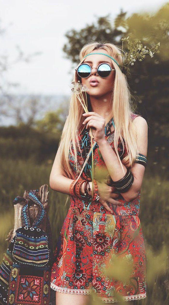 coiffure hippie beaut naturelle de l esprit rebelle coiffure hippie motifs ethniques et. Black Bedroom Furniture Sets. Home Design Ideas