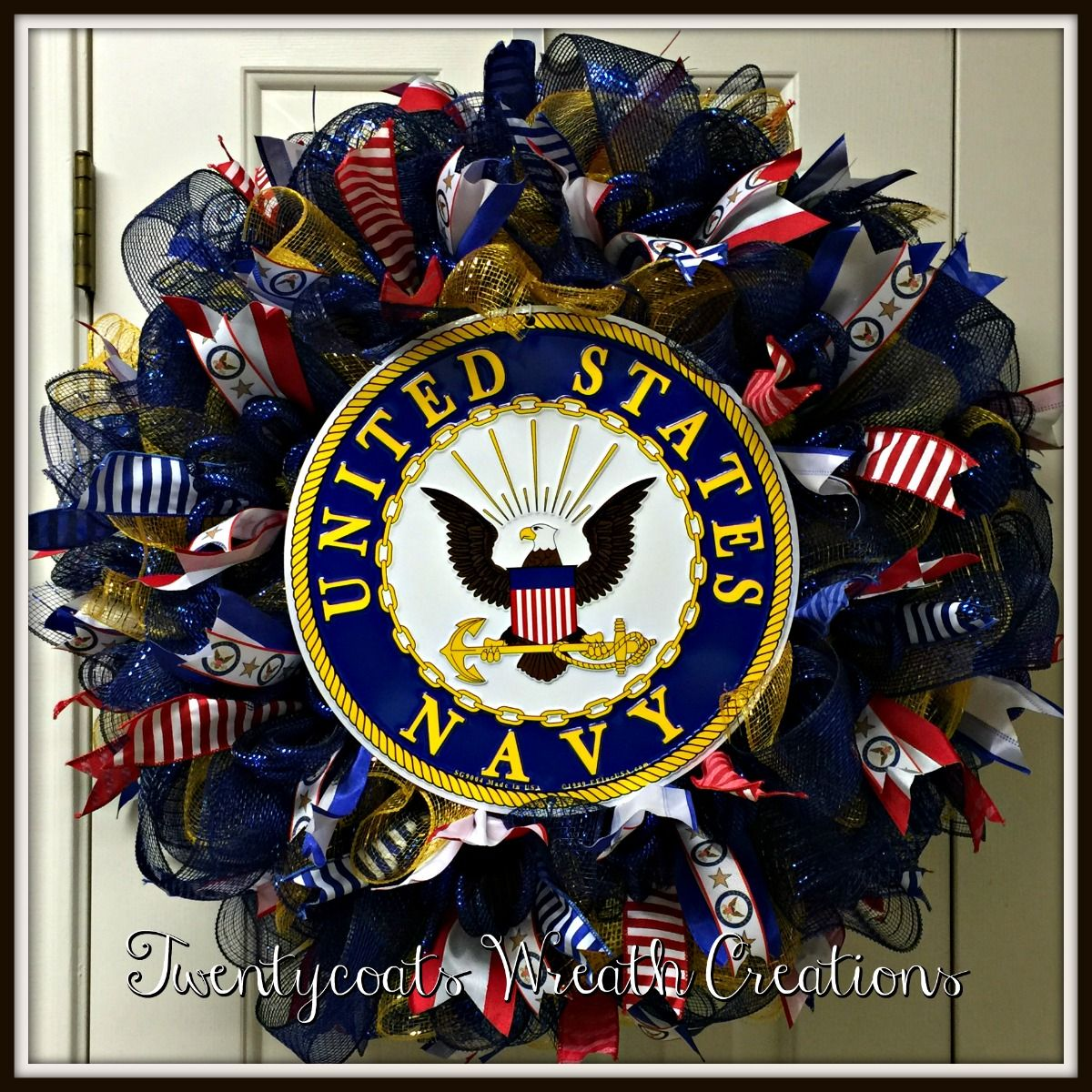 Anchors Away Us Navy Deco Mesh And Burlap Wreath With Official Emblem And Ribbon Perfect For