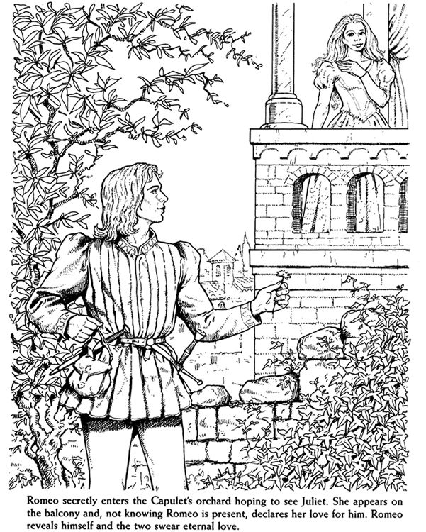 Romeo and juliet coloring pages free ~ Coloring page | Dover coloring pages, Coloring books ...