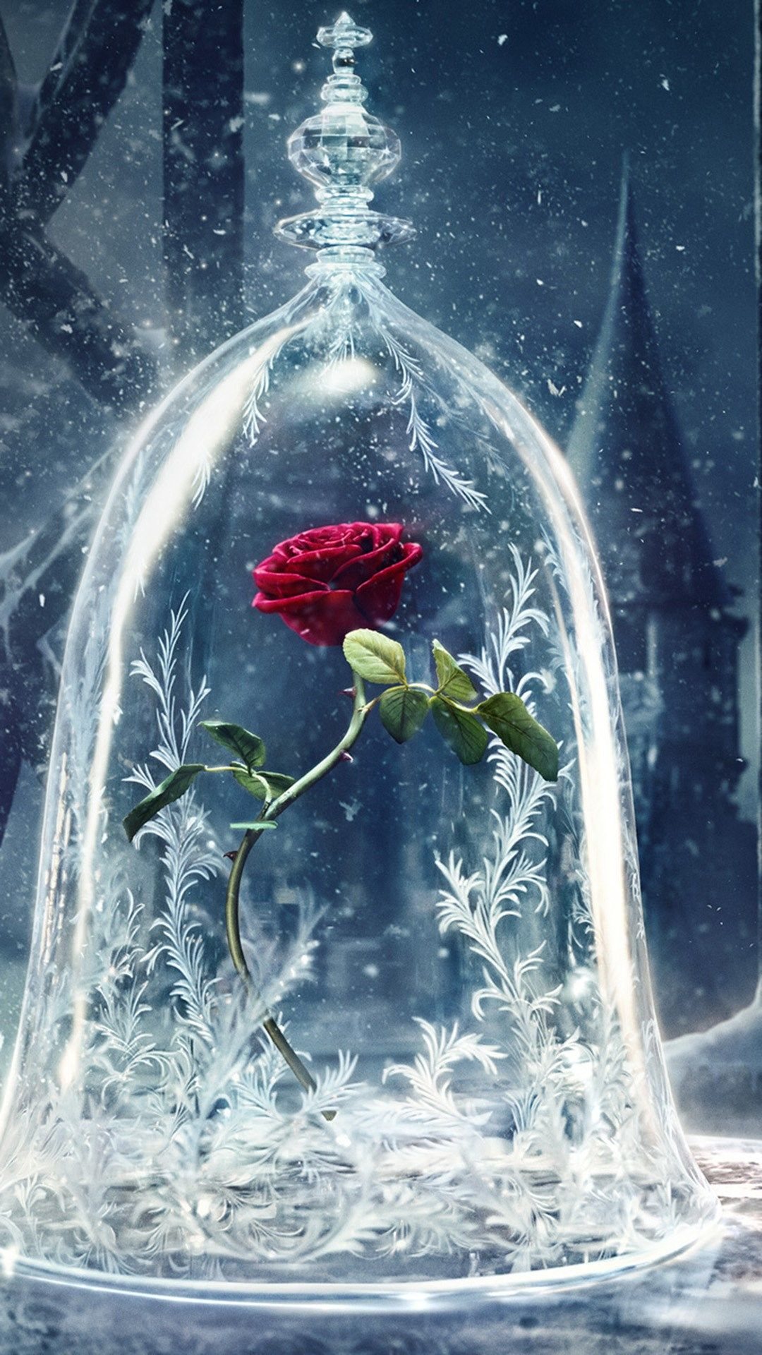 Beauty And The Beast Castle Icy Bell Rose Snowflake Iphone