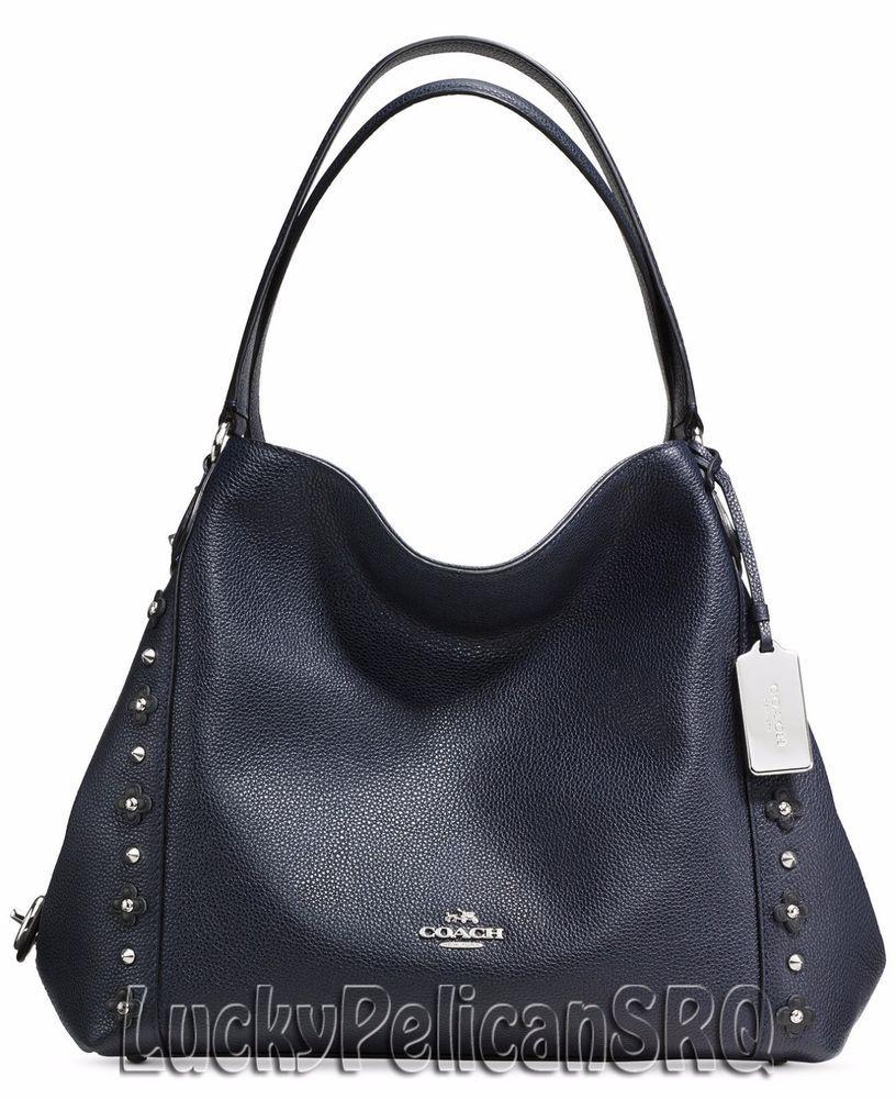 Coach 37700 Edie 31 Shoulder Bag Handbag In Floral Rivets Navy
