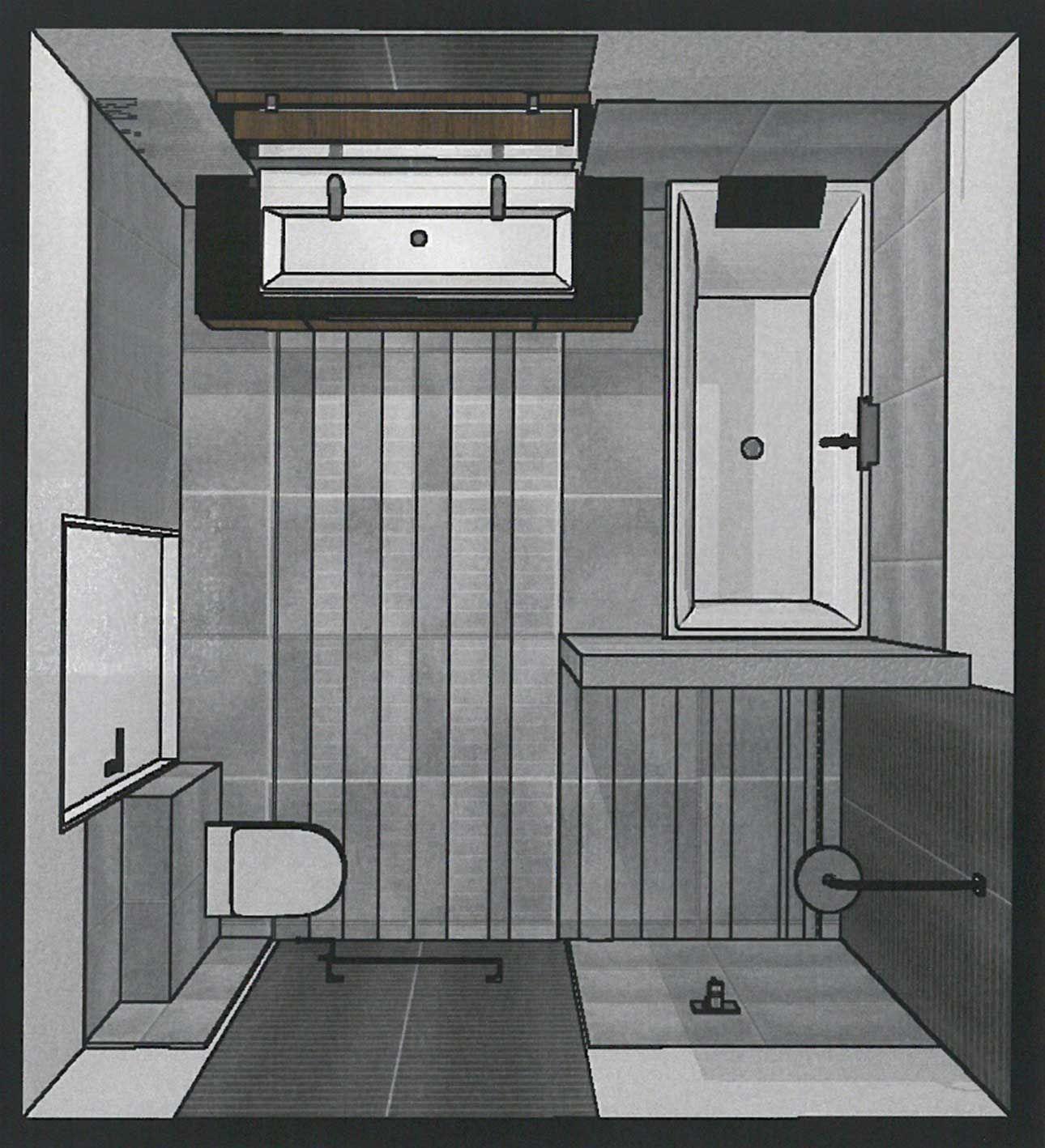 Een 3D badkamer ontwerp gemaakt door Sanidrome, om zo alvast de ...