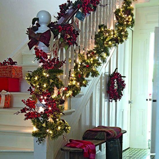 Ideas For Christmas Decorations Uk : Seasonal garland best christmas hallway ideas