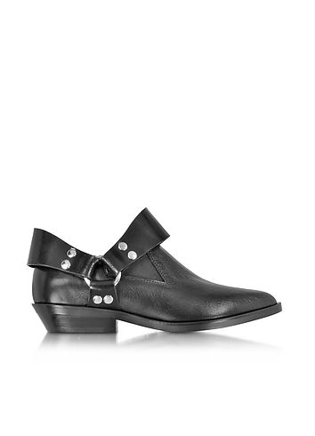 MM6+Maison+Martin+Margiela+Black+Leather+Low+Top+Bootie