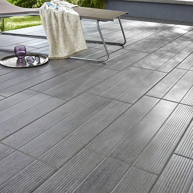Carrelage terrasse gris 31 x 61,8 cm Vieste - CASTORAMA Terrasse - photo terrasse carrelage gris