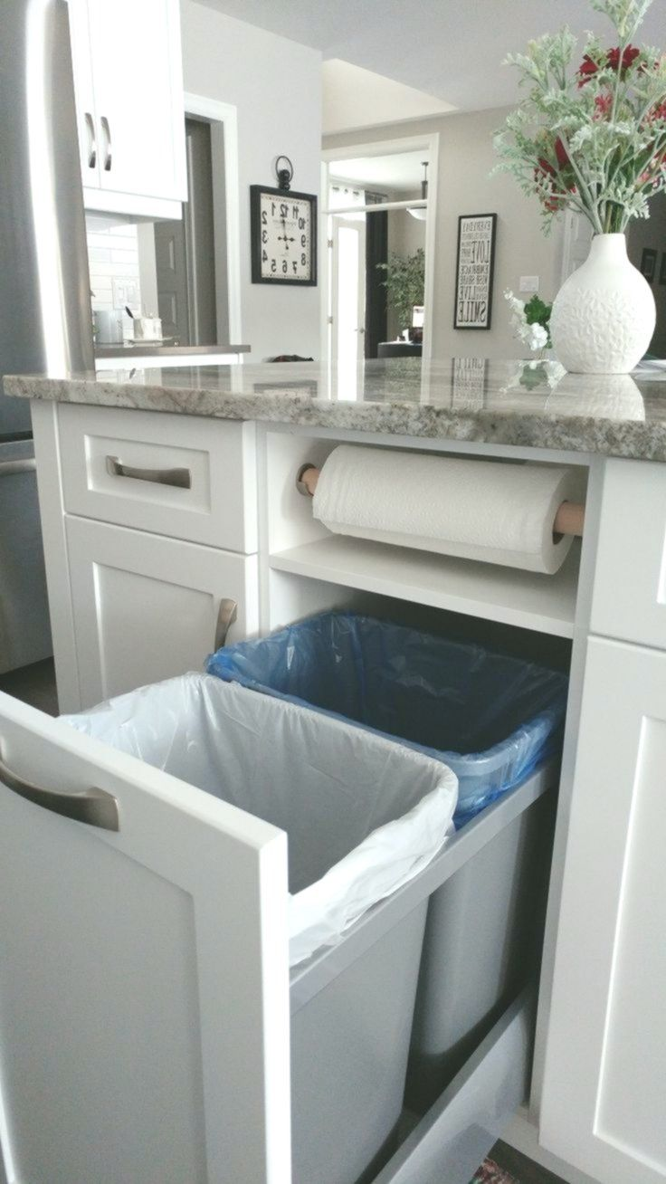 kitchen storage idea garbage recycling and paper towels neatly tucked away garbage idea on kitchen organization recycling id=79488