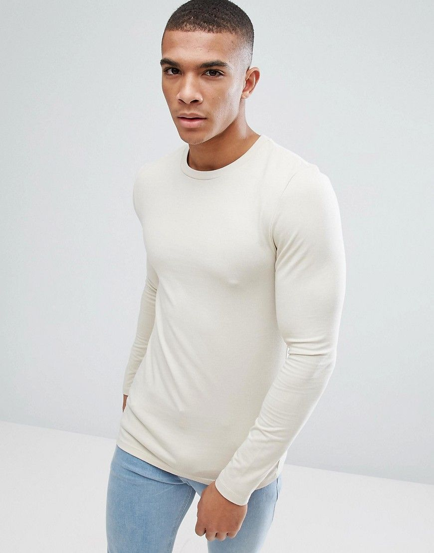 ASOS Extreme Fitted Fit Long Sleeve T-Shirt With Crew Neck - Beige